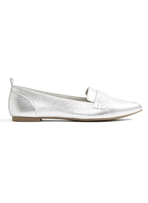 Aldo Metal Detaylı Deri Loafer Ayakkabı Gümüş